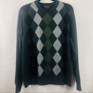 Dockers L Argyle Lightweight Charcoal Gray Sweater